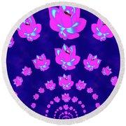 Neon Pink Lotus Arch Round Beach Towel