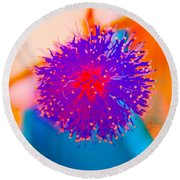 Neon Pink Puff Explosion Round Beach Towel by Samantha Thome