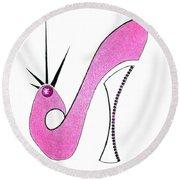 Neon Pink Stiletto Round Beach Towel