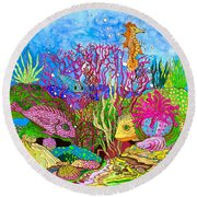 Neon Sea Round Beach Towel by Adria Trail