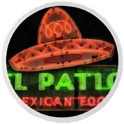 Round Beach Towel featuring the painting Neon Sign Series Mexican Food Austin Texas by Edward Fielding