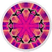 Round Beach Towel featuring the digital art Neon Slipstream by Derek Gedney
