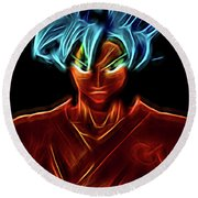 Neon Ss God Goku Round Beach Towel