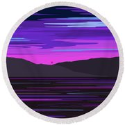 Neon Sunset Reflections Round Beach Towel