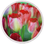 Neon Tulips Round Beach Towel