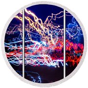 Neon Ufa Triptych Number 1 Round Beach Towel