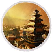 Nepal Temple Round Beach Towel
