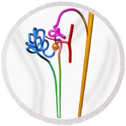 Round Beach Towel featuring the digital art Nephron White by Russell Kightley
