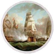 Neptune Engaged At The Battle Of Trafalgar Round Beach Towel