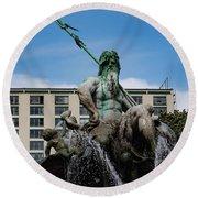 Neptune Statue Round Beach Towel