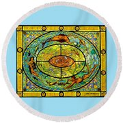 Round Beach Towel featuring the painting Neptune's Daughter by Jeanette Jarmon