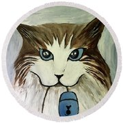 Nerd Cat Round Beach Towel