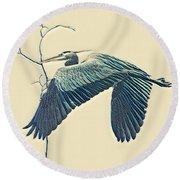 Nesting Heron Round Beach Towel