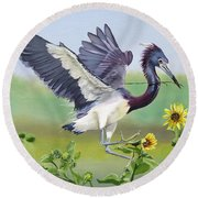 Nesting Tri Colored Heron Round Beach Towel
