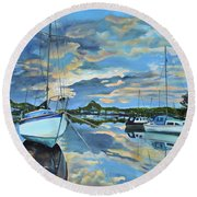 Round Beach Towel featuring the painting Nestled In For The Night At Mylor Bridge - Cornwall Uk - Sailboat  by Jan Dappen
