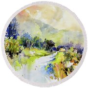 Round Beach Towel featuring the painting Nestled by Rae Andrews
