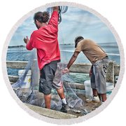 Net Fishing On Cortez Bridge  Round Beach Towel