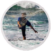 Net Fishing Round Beach Towel
