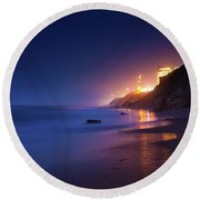 Netanya Beach At Night Round Beach Towel