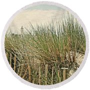 Netherlands - Dunes And Lighthouse Round Beach Towel