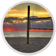 Netting The Sunrise Round Beach Towel