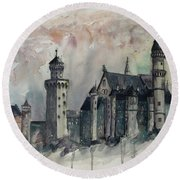Neuschwanstein Castle Hohenschwangau, Germany Round Beach Towel