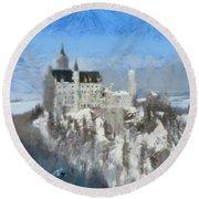 Neuschwanstein Castle Round Beach Towel by Sergey Lukashin