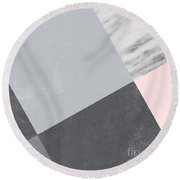 Neutral Collage With Marble Round Beach Towel