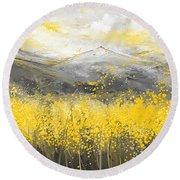 Neutral Sun - Yellow And Gray Art Round Beach Towel