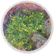 Round Beach Towel featuring the photograph Nevada Yellow Wildflower by Linda Phelps