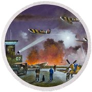 Round Beach Towel featuring the painting Never So Few by Ken Wood