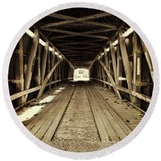 Round Beach Towel featuring the photograph Nevins Bridge by Joanne Coyle