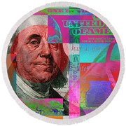 New 2009 Series Pop Art Colorized Us One Hundred Dollar Bill  No. 3 Round Beach Towel by Serge Averbukh