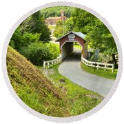 New Baltimore Covered Bridge Through The Forest Round Beach Towel