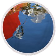 Round Beach Towel featuring the photograph New Bedford Waterfront Xxviii Color by David Gordon