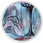 Round Beach Towel featuring the painting New Beginnings by Angela Armano