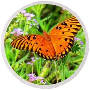 Windows From Heaven Orange Butterfly Round Beach Towel