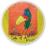 New Bird On The Block Round Beach Towel