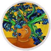 New Blue By You Round Beach Towel by Nora Shepley