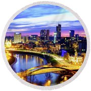 Round Beach Towel featuring the photograph New Center Of Vilnius by Fabrizio Troiani