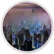 New City Skyline Round Beach Towel