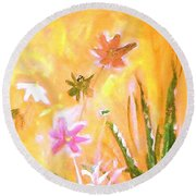New Daisies Round Beach Towel
