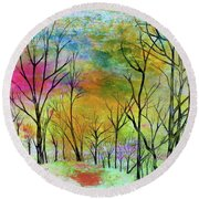 New Dawn New Day New Life Round Beach Towel