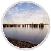 New Day In The Bay Round Beach Towel