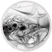 New Directions - Black And White Modern Abstract Art Round Beach Towel