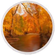 New England Autumn In The Woods Round Beach Towel