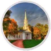 Round Beach Towel featuring the photograph New England Autumn - White Chapel by Joann Vitali