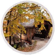 Round Beach Towel featuring the photograph New England College No. 63 Covered Bridge  by Betty Pauwels