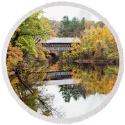 Round Beach Towel featuring the photograph New England Covered Bridge No.63 by Betty Pauwels