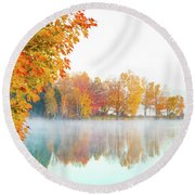 New England Fall Colors Of Maine Round Beach Towel
